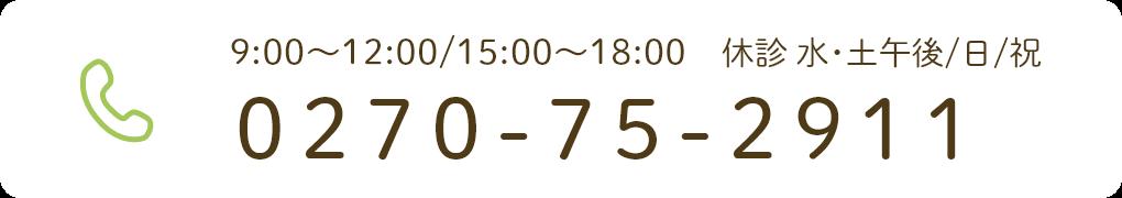 9:00〜12:00/15:00〜18:00 休診 水・土午後/日/祝 0270-75-2911